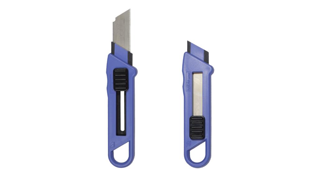 ナルビーのナイフ「ルピカ」。ステンレス製の刃はネジ式で確実にロックでき、長さの調節可能です。