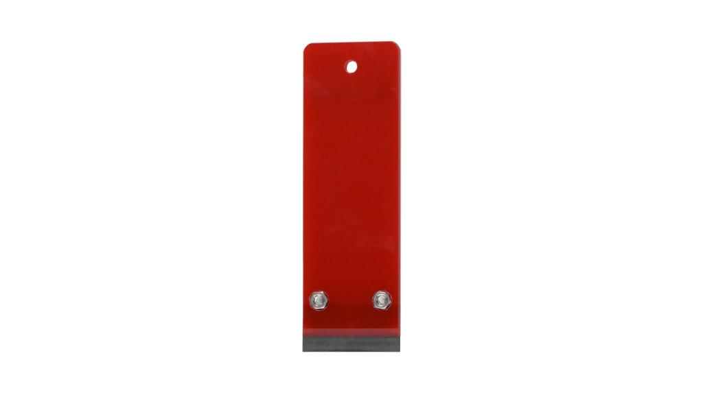 ナルビー製業務用ガラススクレーパー、クリアレッドは数量限定カラーです。プラ一枚刃が装着されていますが、他の刃に交換可能です。