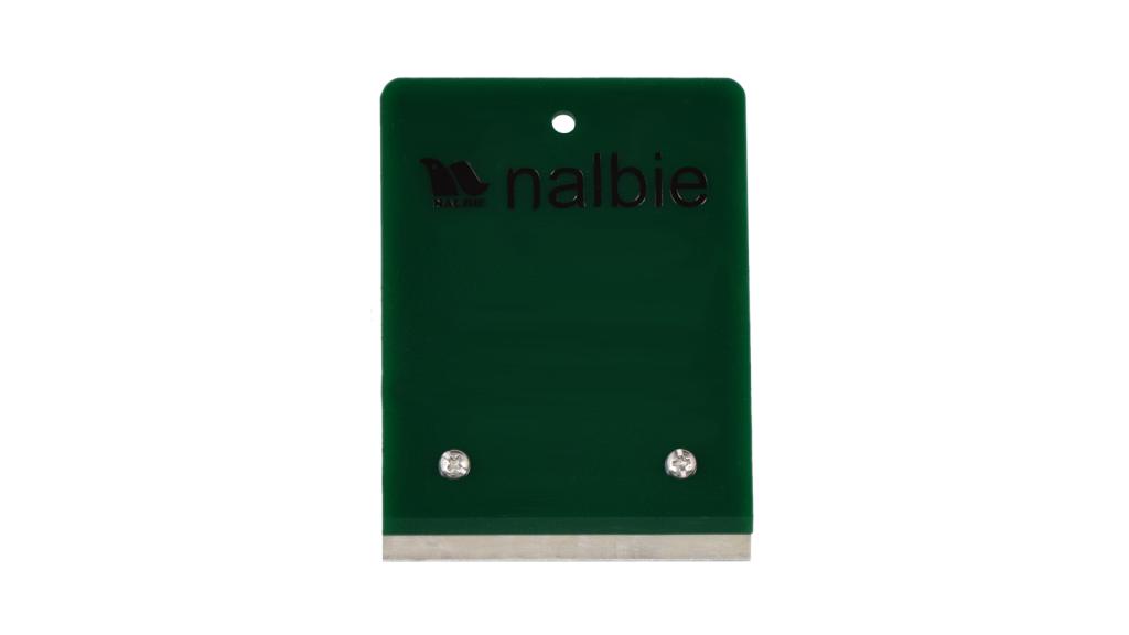 ナルビーの定番、業務用ガラススクレーパー「二枚刃ホルダー」。一枚刃と三枚刃の中間の大きさは応用範囲が広いと好評です。